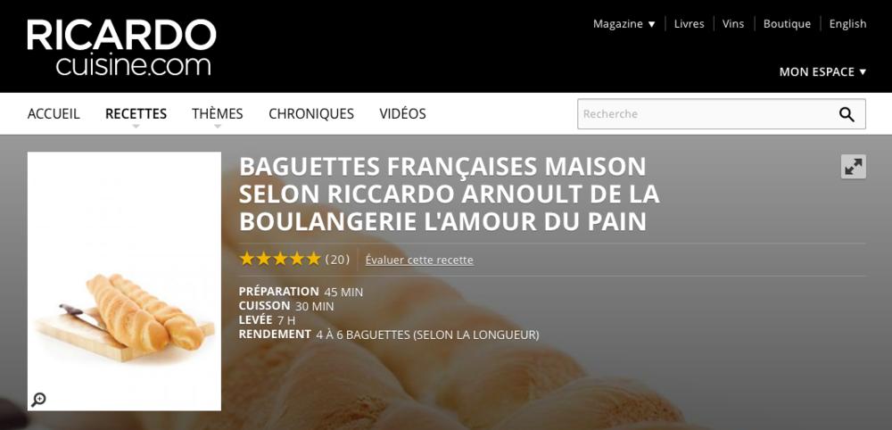 Ricardo, recette de baguettes françaises maison.