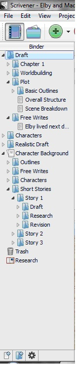 Here is my Scrivener binder with all of my novel planning folders and files. I strategically tried to hide as much information about my story as possible, though one of the character's names is visible. So, there's a freebie. If you are a writer and not using Scrivener, I HIGHLY suggest you start. It is only like $40 online and it is amazingly helpful. Definitely one of the best writing purchases I've ever made.