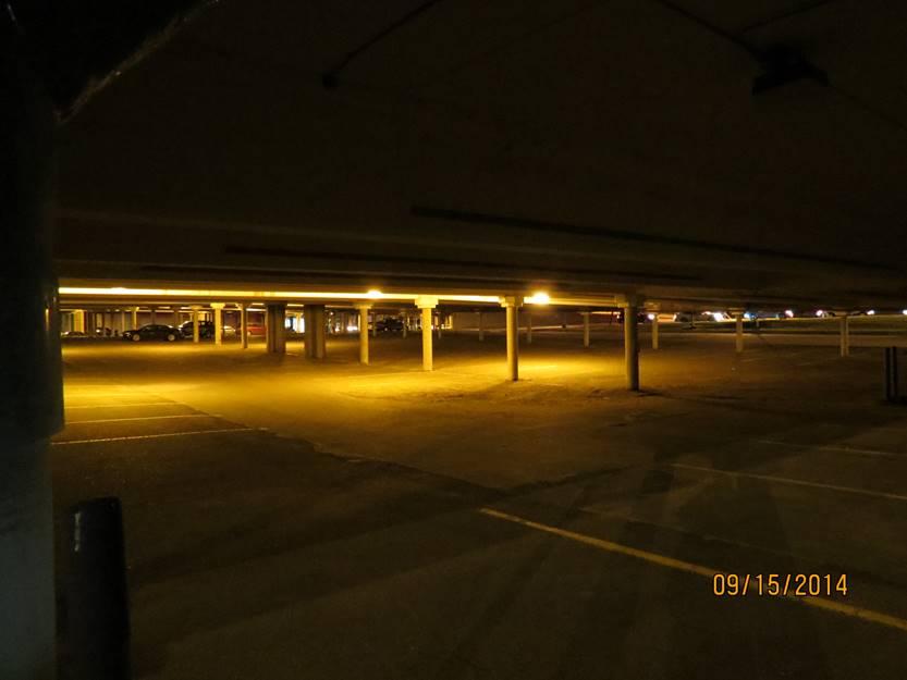 Parkade 150W HID luminaires. .35 fc average.