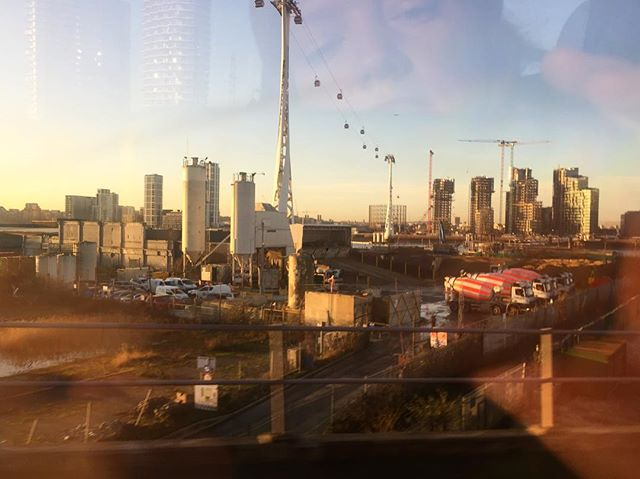 Early morning DLR ride . . . . #DLR #sunrise #docklands #london #canarywharf #tateandlyle #cityairport #cablecartonowhere