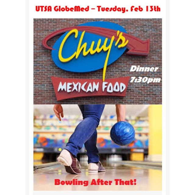 Hello everyone! Instead of our usual meeting on campus, this week we will be having a social! At the meeting, we elected to go to Chuy's for dinner at 7:30. After that we will go bowling at University Bowl close to campus. Come for the whole thing, or just for part of it - whatever works for you. We definitely encourage carpooling, contact any of our e-board members for more information. See you there!