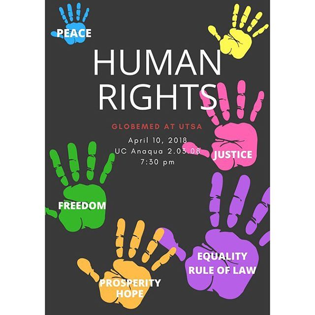 Today we will be discussing human rights!! Before making your way to room UC Anaqua 2.03.08, look up a human rights violation that's occurred. We encourage everyone attending tonight's meeting to do this in order to encourage an engaging discussion. Afterwards, we will be mentioning important details regarding the Texas GlobeMed Hilltop happening this Saturday and a volunteering opportunity for next week. Do not miss out!! 😀