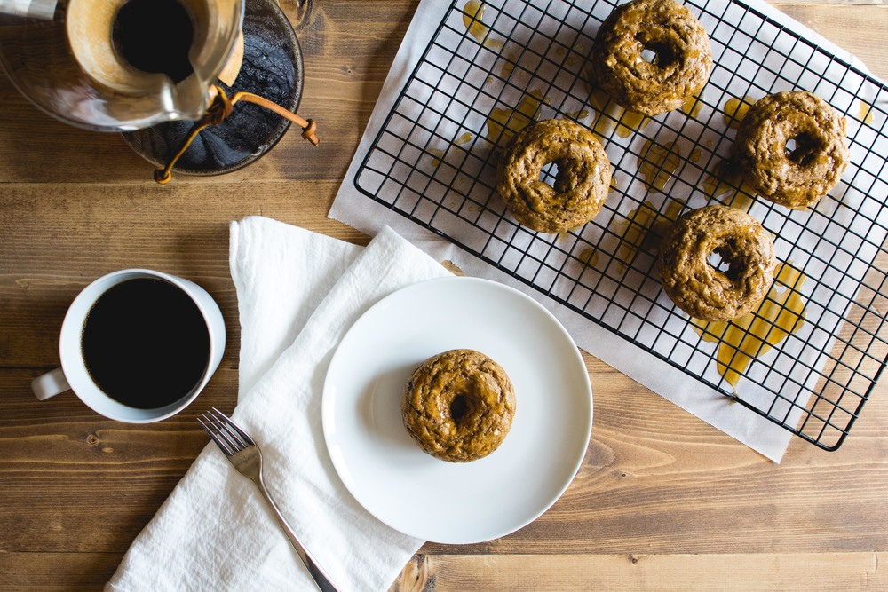 Baked Maple Whiskey Banana Bread Doughnuts