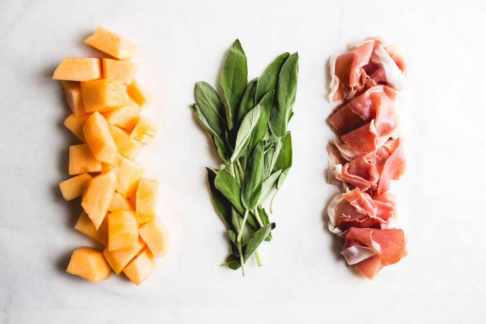 Prosciutto Wrapped Melon with Sage + Black Pepper