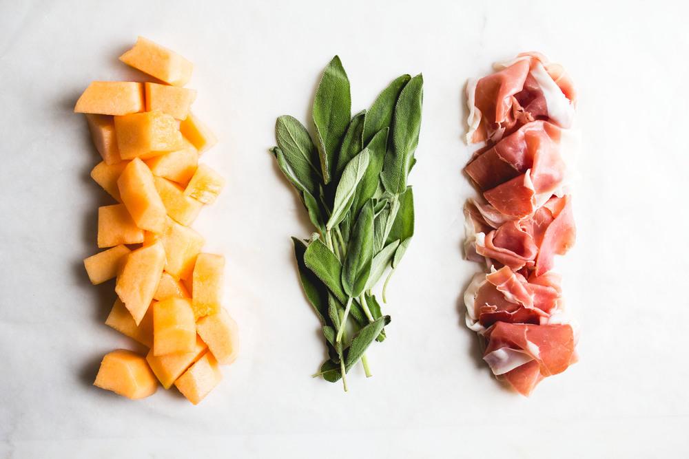 Prosciutto Wrapped Melon with Sage + Black Pepper