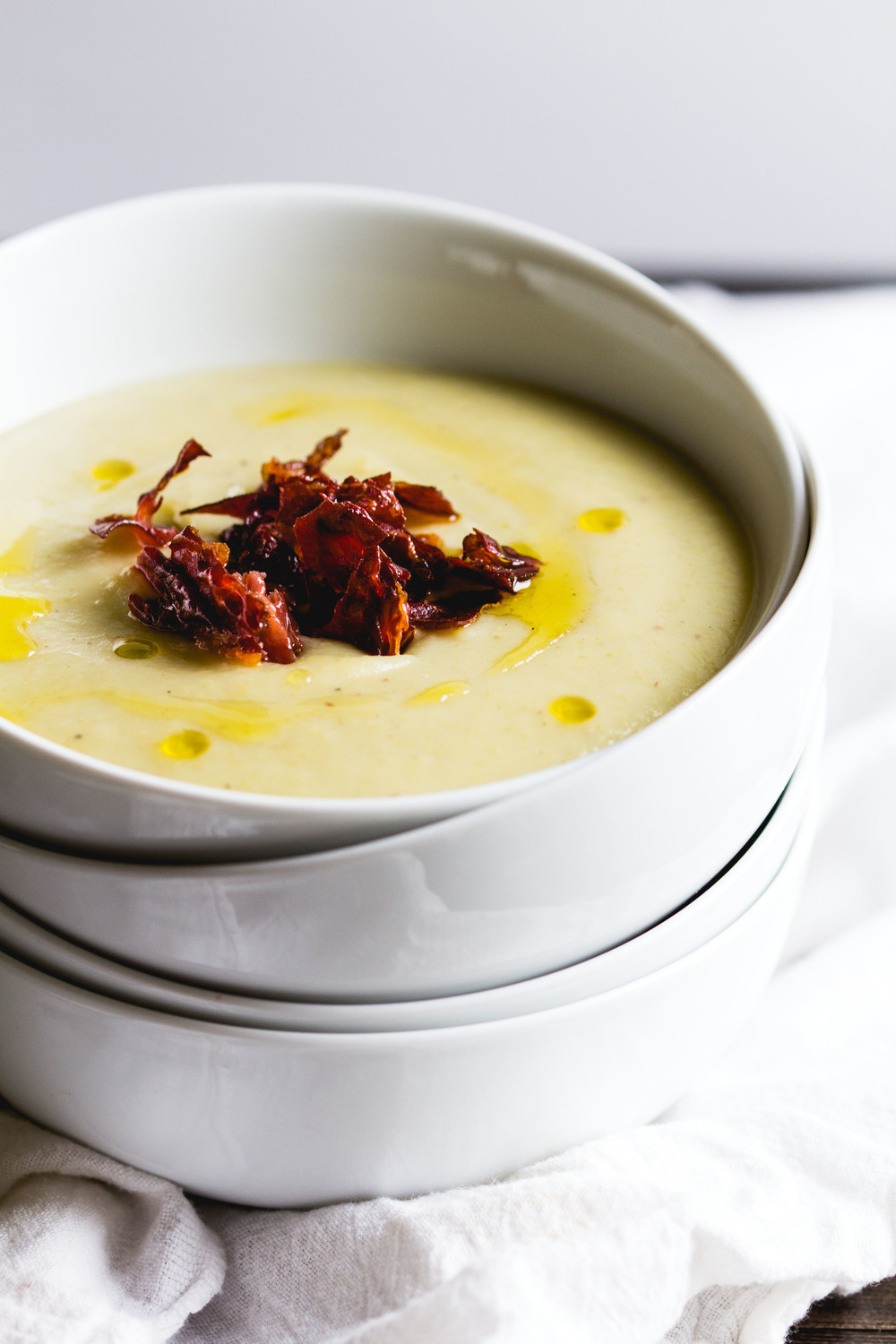 Creamy Celery + Potato Soup with Crispy Prosciutto