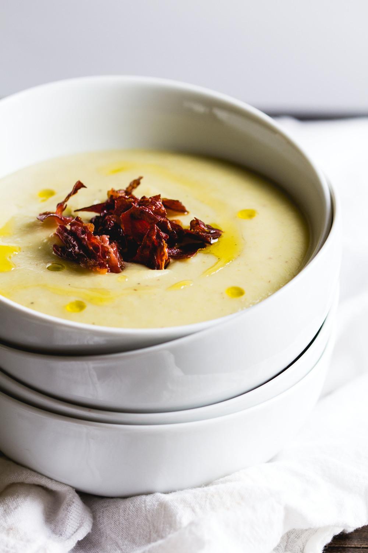 Creamy Celery + Potato Soup with Crispy Prosciutto