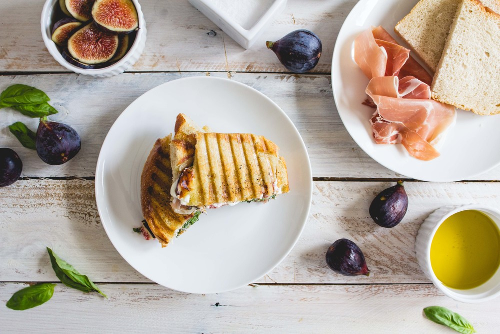 Fig, Prosciutto + Goat Cheese Panini