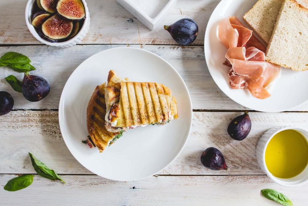 Fig, Prosciutto + Goat Cheese Panini