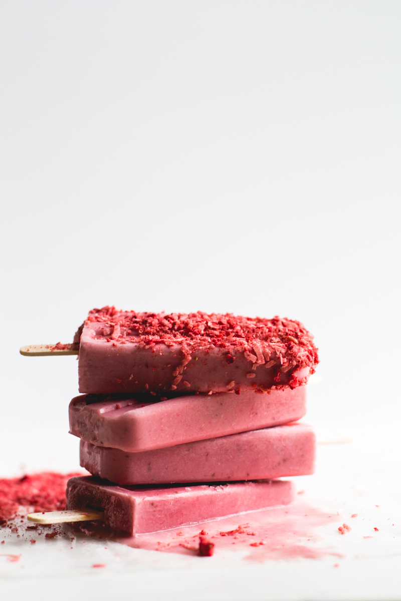 Strawberry, Banana + Coconut Milk Popsicles