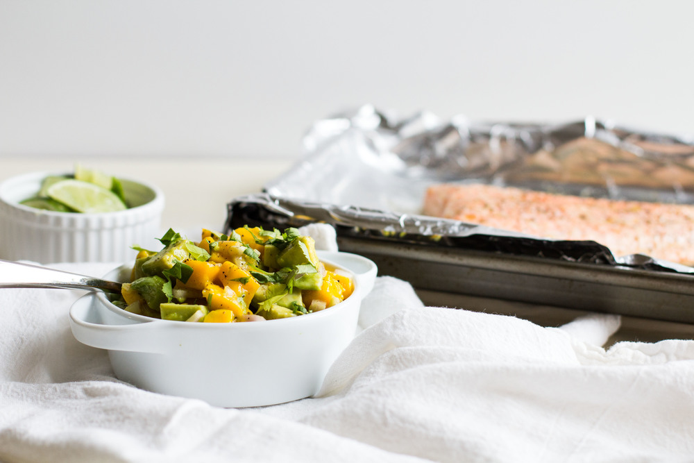 Baked Salmon with Mango-Avocado Salsa
