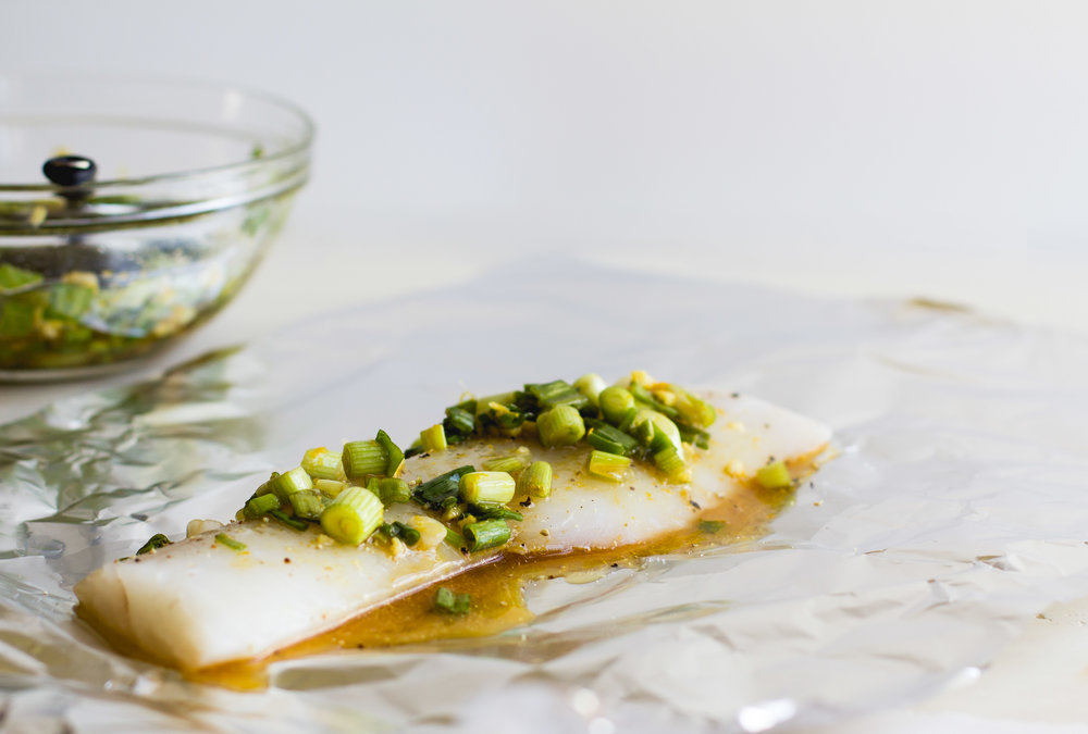 Foil-Baked Cod with Oranges, Scallions + Ginger