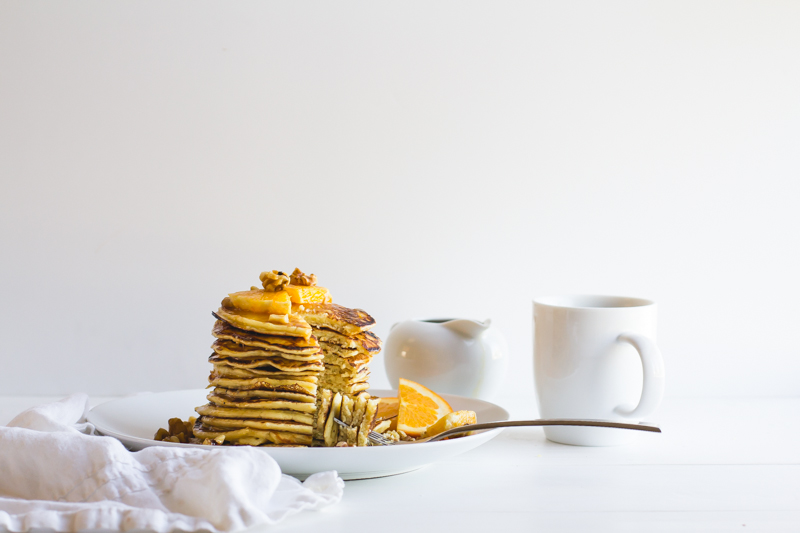 Orange + Spice Pancakes with Bourbon Buttered Syrup