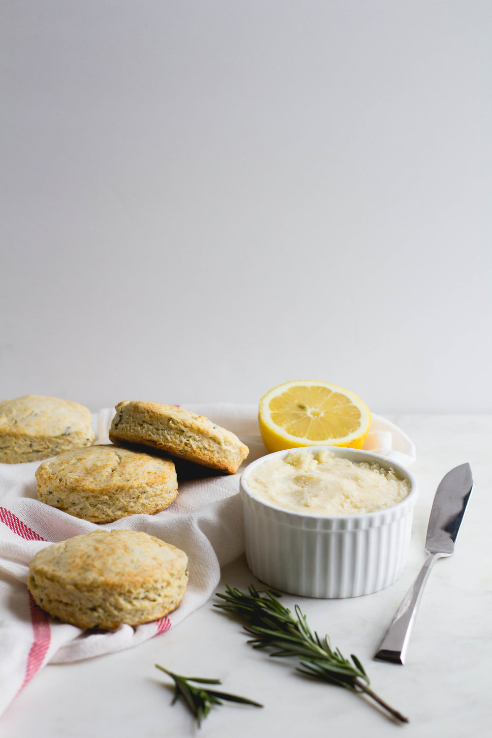 Lemon + Rosemary Biscuits with Lemon-Honey Butter