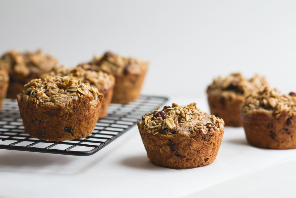 Baked Oatmeal Cups with Raisins, Seeds + Cinnamon