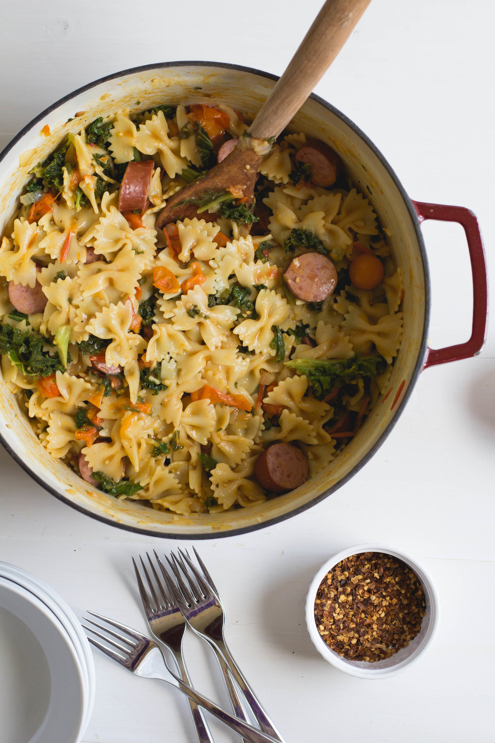 Pasta with Smoked Sausage, Cherry Tomatoes + Kale