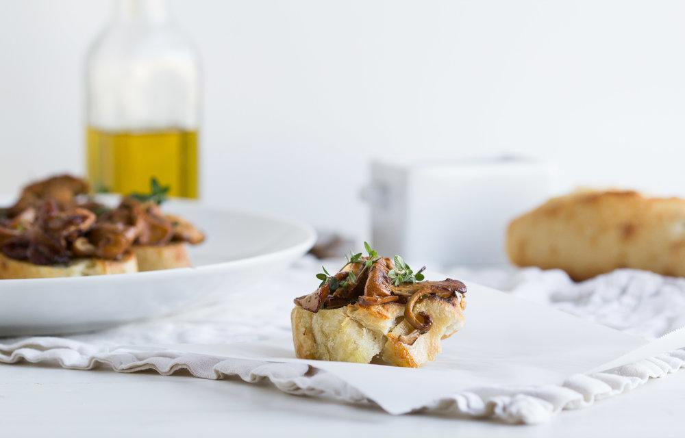 Crostini with Garlic Sauteed Chanterelles