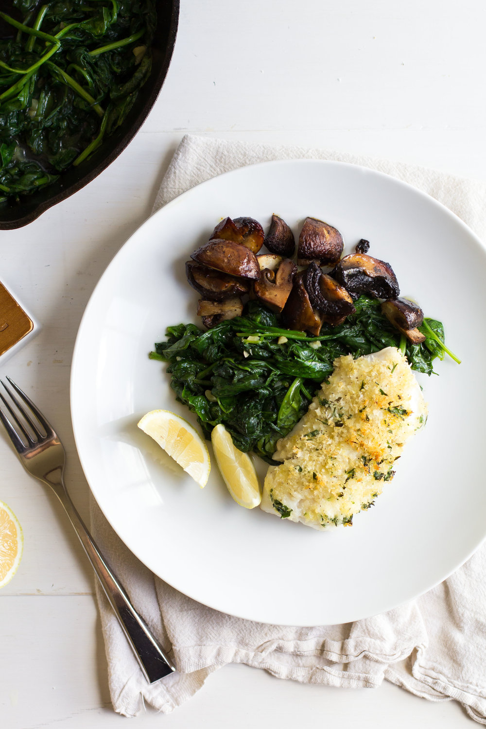 Panko-Crusted Pacific Cod with Roasted Mushrooms + Sauteed Spinach - The Homemade Haus