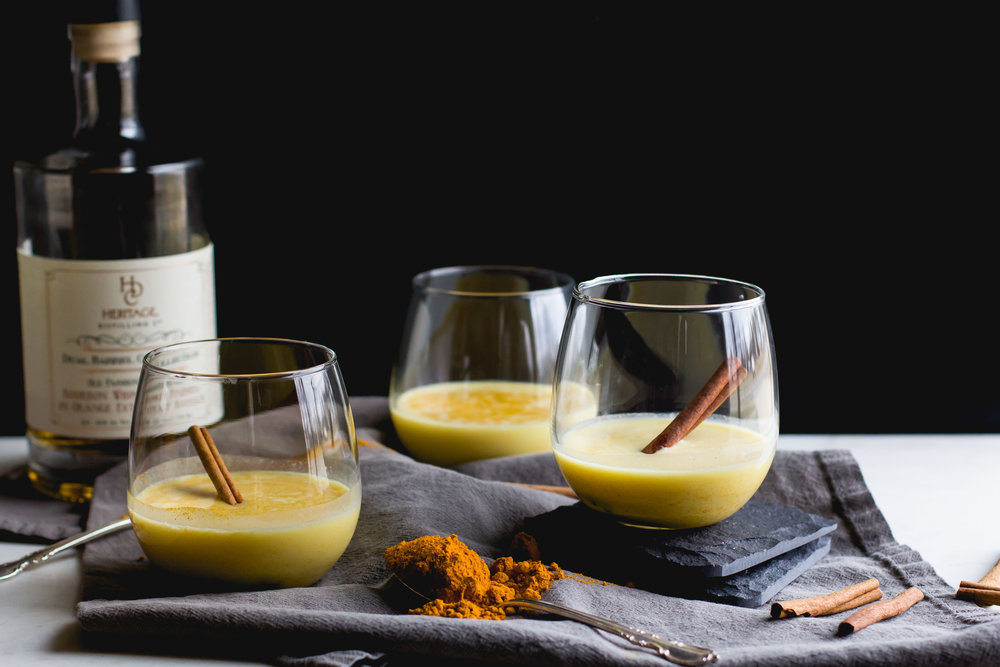 (Dairy-Free) Creamy Turmeric + Bourbon Cocktail [featuring Heritage Distilling Co.]
