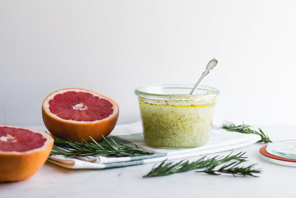 Grapefruit + Rosemary Salt Scrub - Sarah J. Hauser