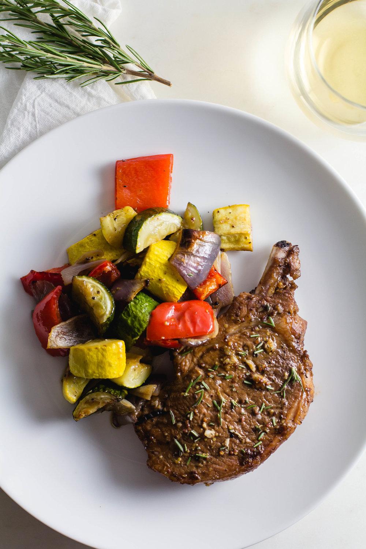 Sheet Pan Balsamic Pork Chops with Roasted Veggies - Sarah J. Hauser