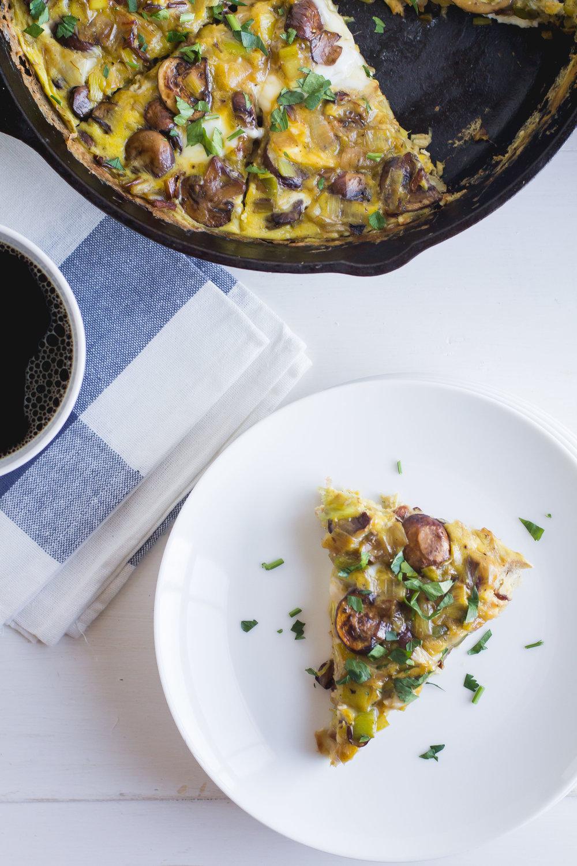 Mushroom + Leek Frittata - Sarah J. Hauser