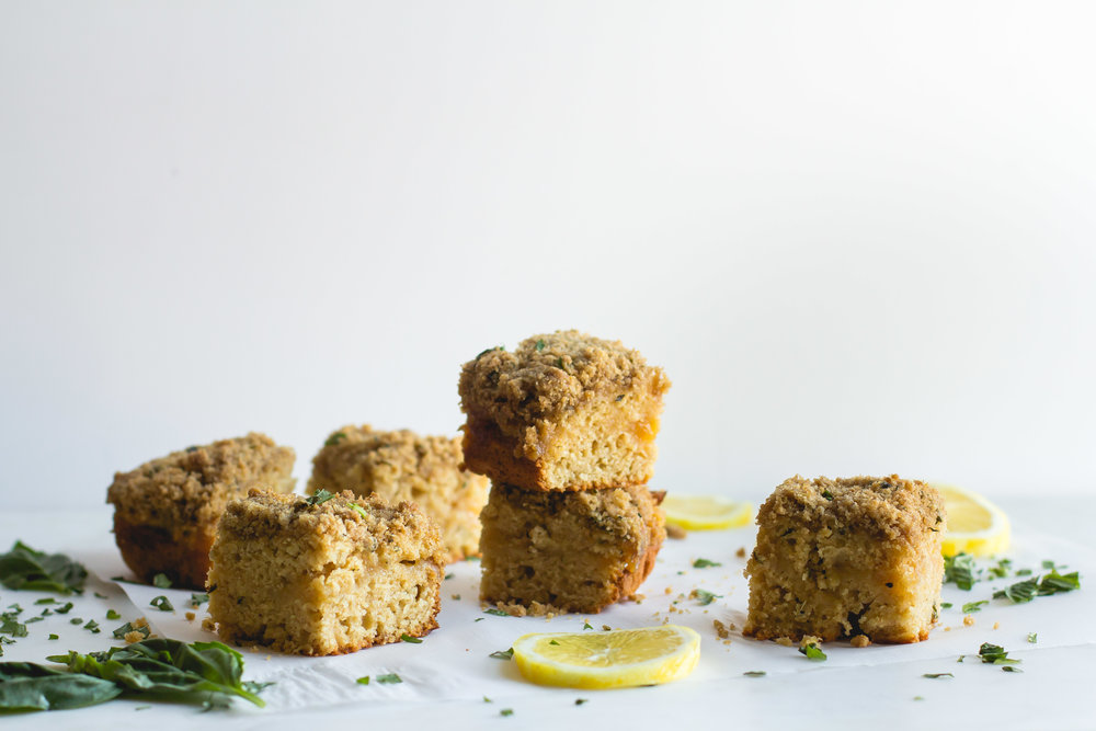 Lemon-Basil Whole Wheat Coffee Cake - Sarah J. Hauser