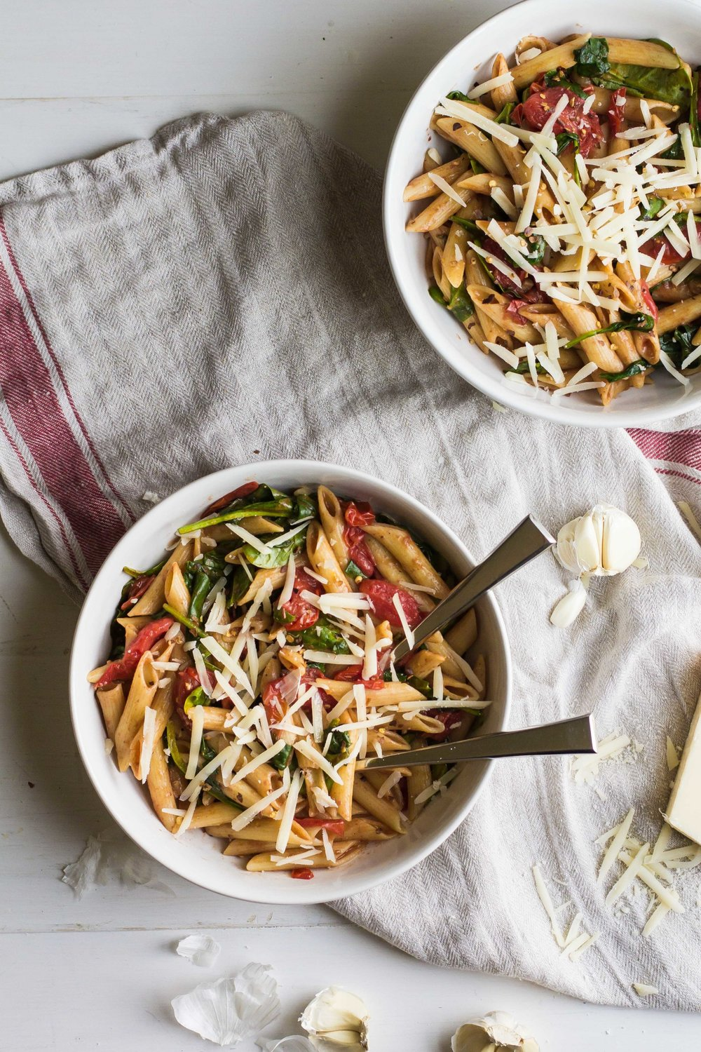 Weeknight Pasta with Cherry Tomatoes + Spinach - Sarah J. Hauser