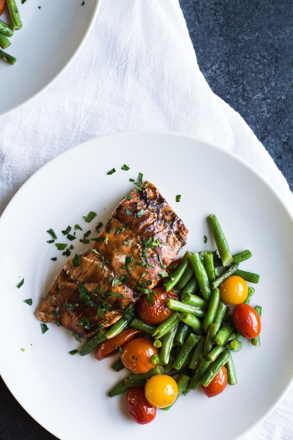 Sheet Pan Balsamic Salmon with Roasted Tomatoes + Green Beans - Sarah J. Hauser