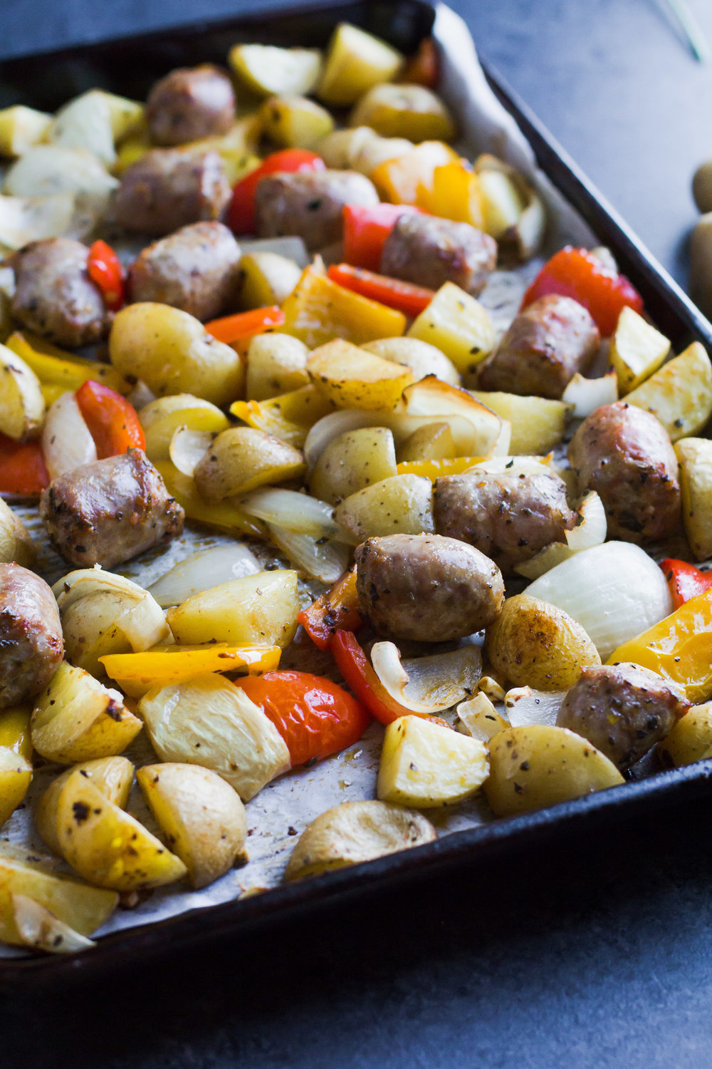 Sheet Pan Sausage, Peppers + Potatoes - Sarah J. Hauser