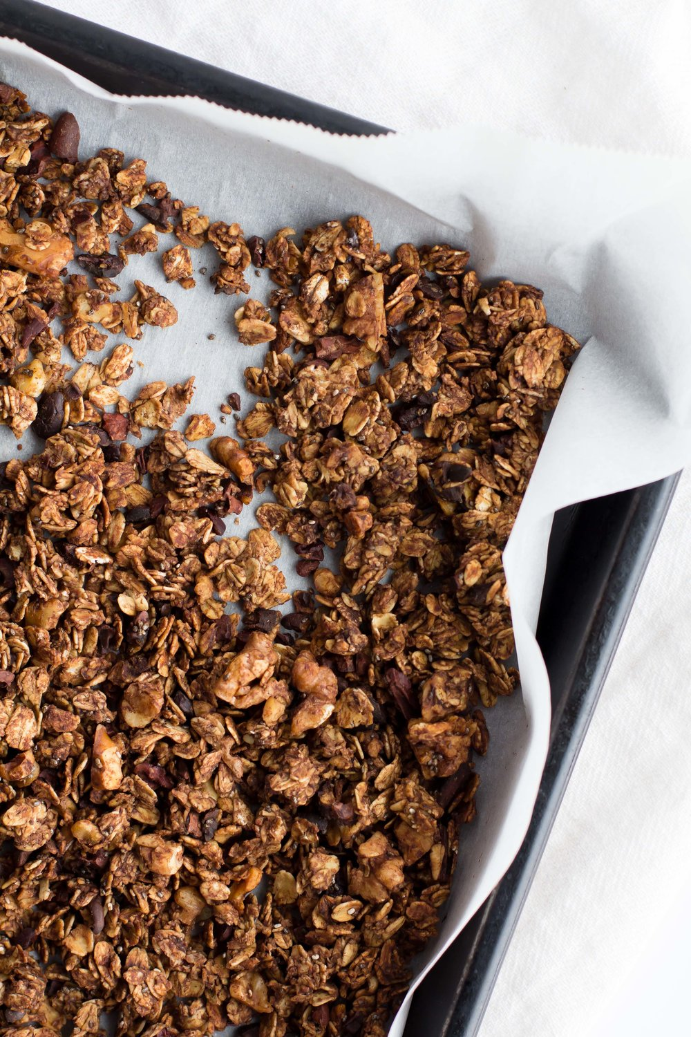 Cold Brew Granola with Chocolate, Walnuts + Chia Seeds | Sarah J. Hauser