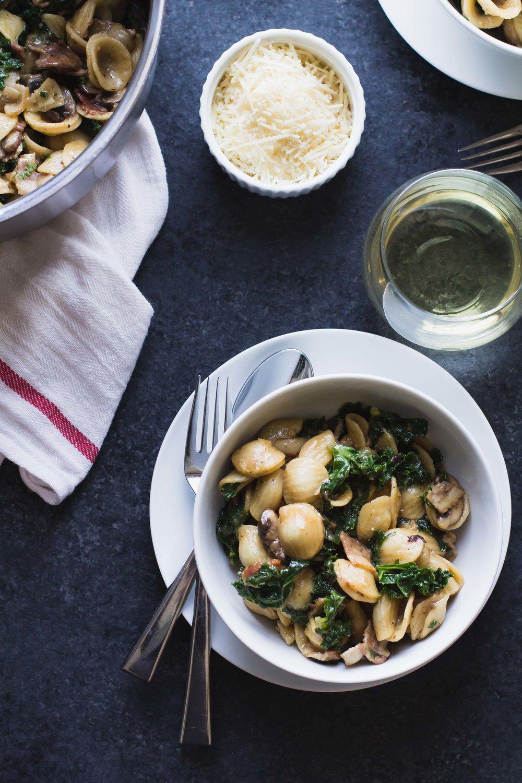 Orecchiette with Bacon, Mushrooms + Kale | Sarah J. Hauser