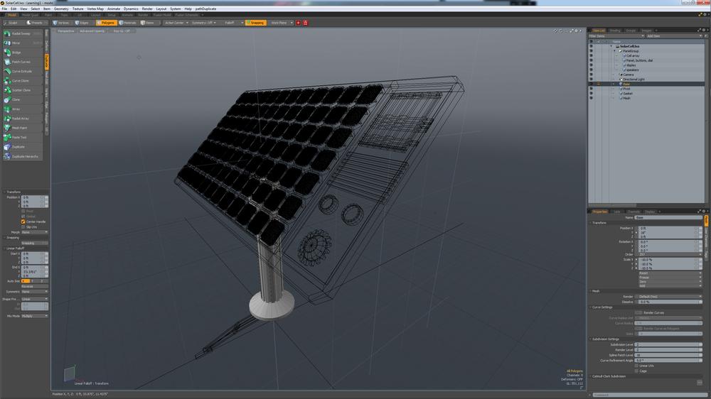 Modeling the solar panel in MODO 701