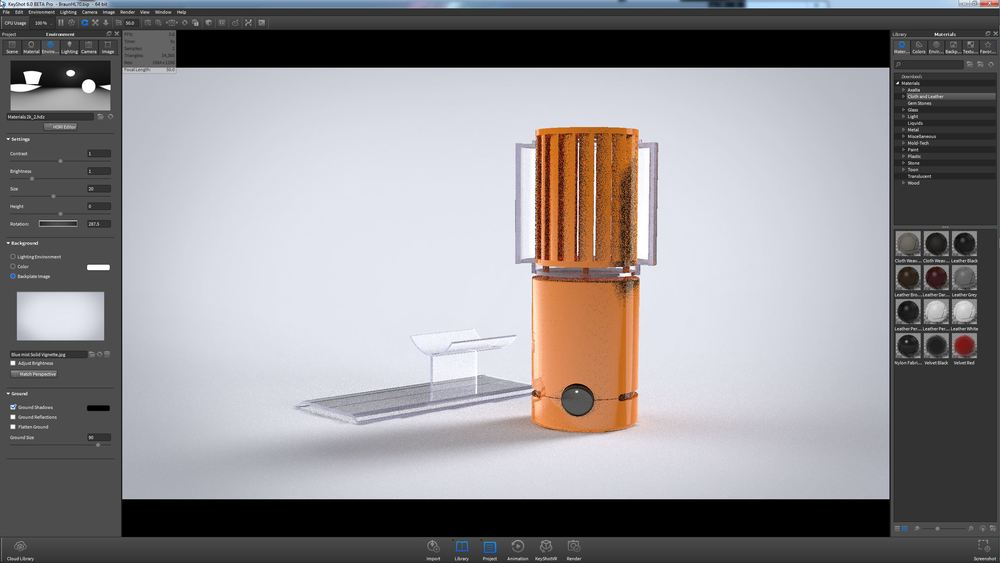 The two acrylic pieces separated and individually movable, thanks to the new Geometry Editor in KeyShot 6.