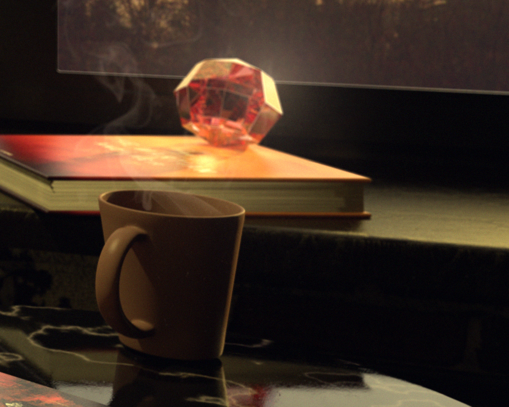 Close-up of coffee cup, The Martian (book) and glass sculpture (Depth of field applied)