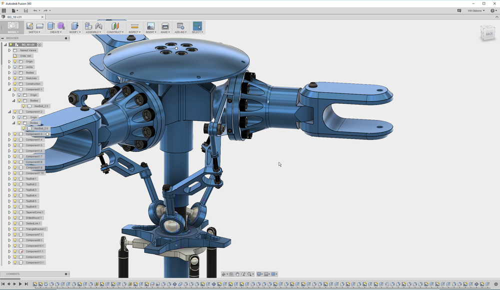 Part and assembly mode coexist in the same file in Fusion 360.