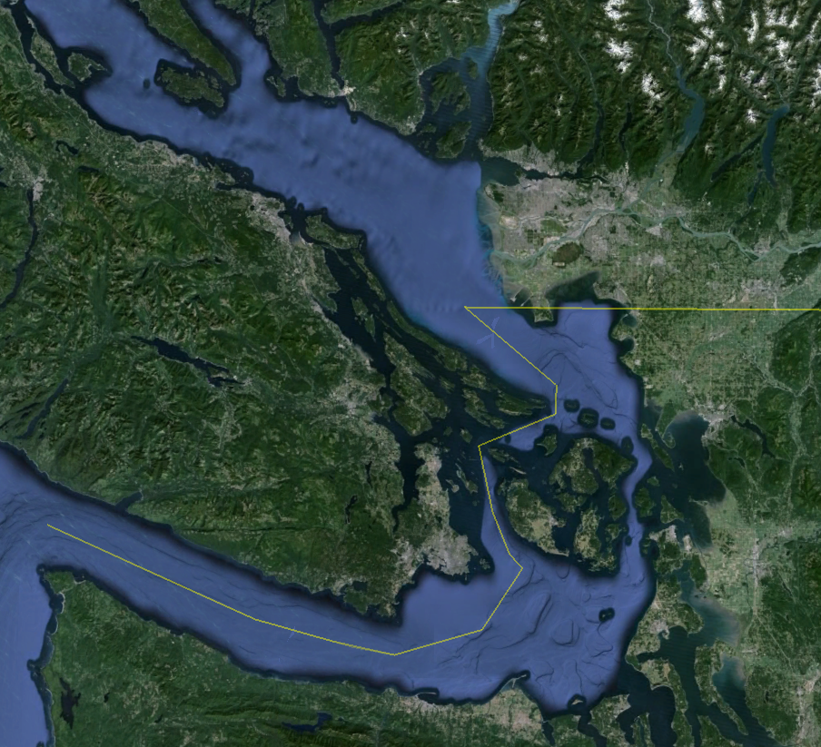 Our Study Area : The Southern Salish sea includes the Strait of Georgia, the Gulf islands, Howe Sound, the San Juan  islands, and Puget Sound. In 2016, we recorded more humpback whales in the Salish Sea than ever before. Keta plans to identify and catalogue these whales as they continue to populate this area.