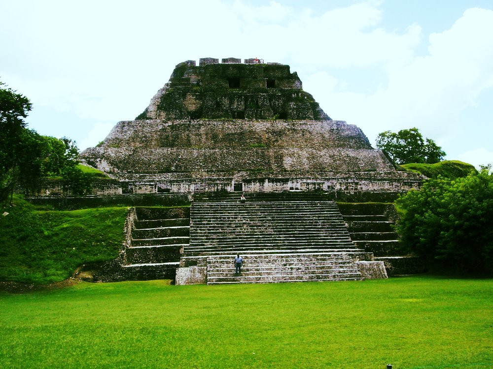 Sometimes you've got to lean way out to get the whole picture. Xunantunich, Belize.