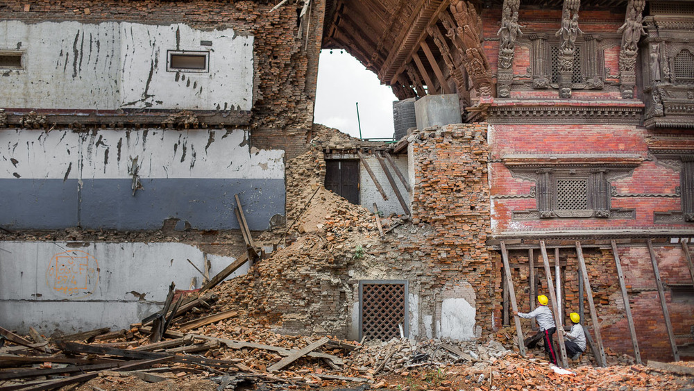 Durbar Square, Kathmandu, Nepal after the earthquake.