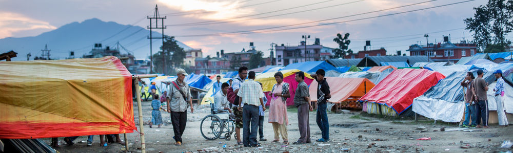 People in shelter camps at   Tara Goan Park,   Kathmandu  .