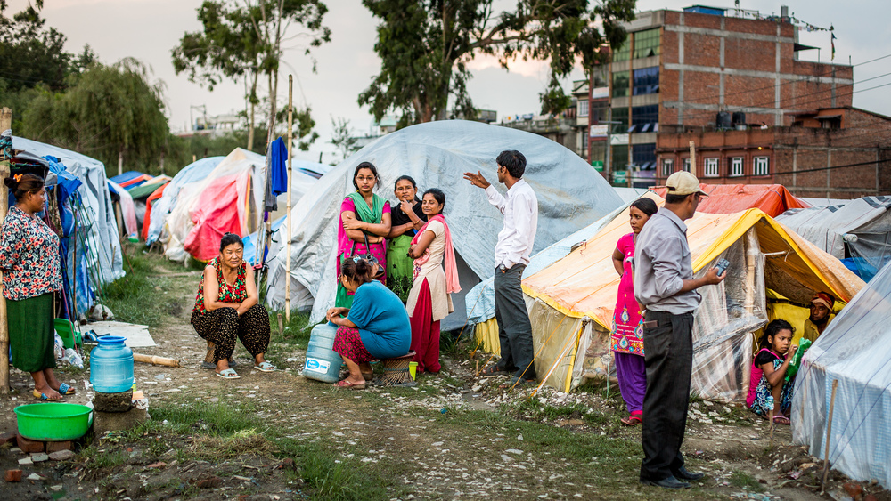 People in shelter camps at Tara Goan Park, Kathmandu.
