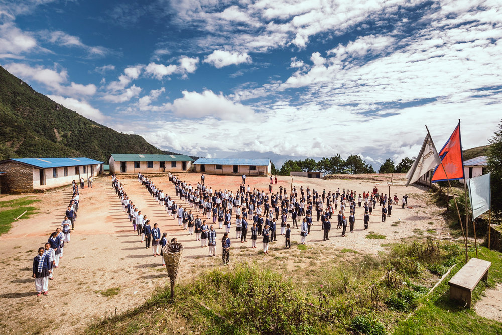 Morning assembly atone of our supported schools in the Solu district in East Nepal.