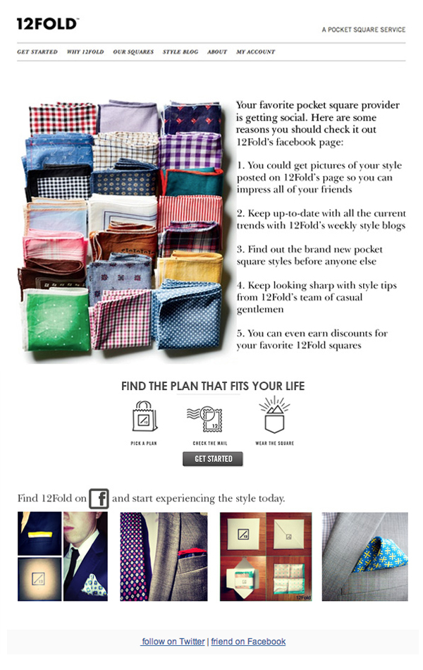 POCKET SQUARE TIPS EMAIL CAMPAIGN