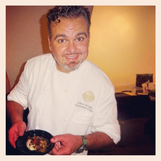 Chef Aaron Brooks and his winning plate: sauteed Key West shrimp  with tomatoes, eggplant, and black olive crumbs.
