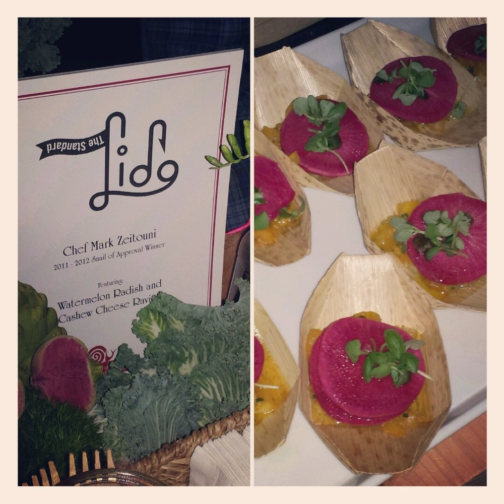 The Lido Restaurant: Representing raw food with Watermelon Radish and Cashew Cheese Ravioli