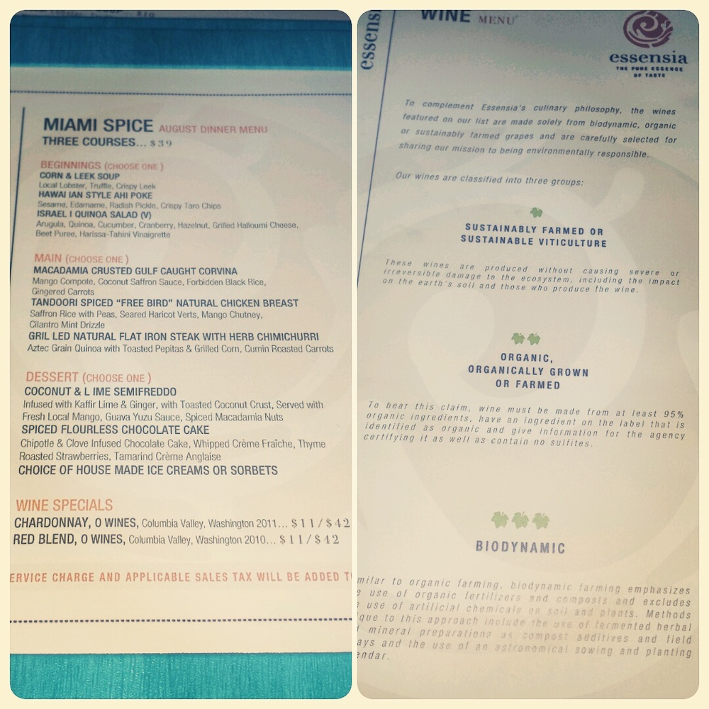 Miami Spice in August Wine Descriptions are added to the Menu to choose from Organic or Sustainable