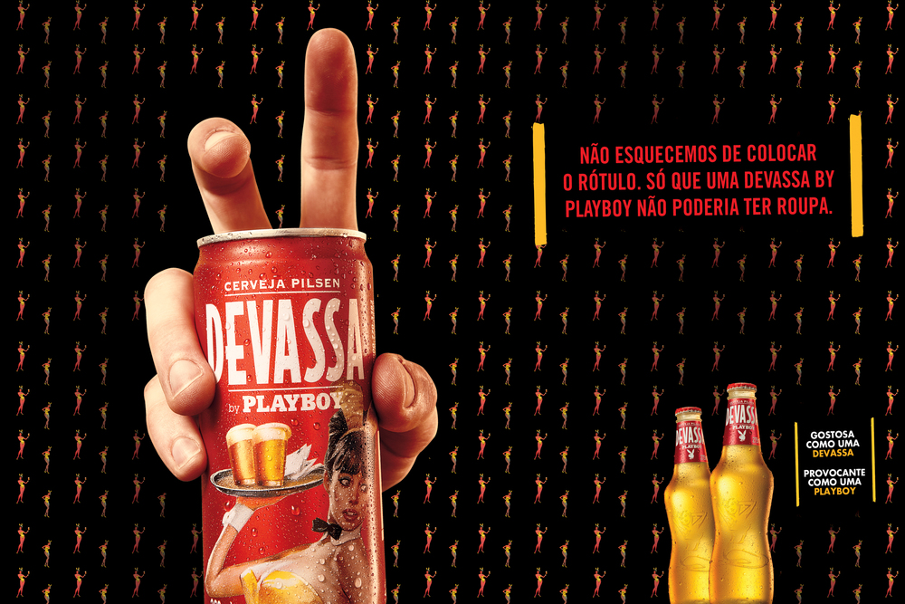 ENGLISH: No, we didn't forget the beer label. It's just that a beer by Playboy should be naked. Devassa by Playboy beer.