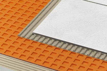 A view of the  Ditra  underlayment and other layers