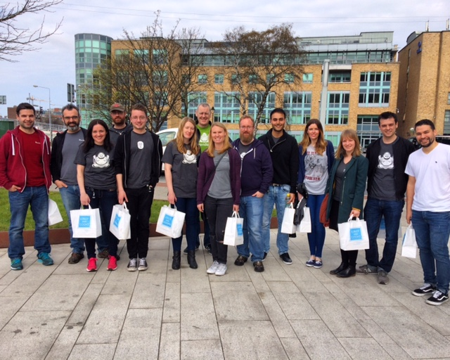 Some of our Dublin team  volunteering with our partnered charity The Simon Community. They sorted through clothing donations to see what was good for distribution and for re-sale in the Simon Charity Shops around the city.