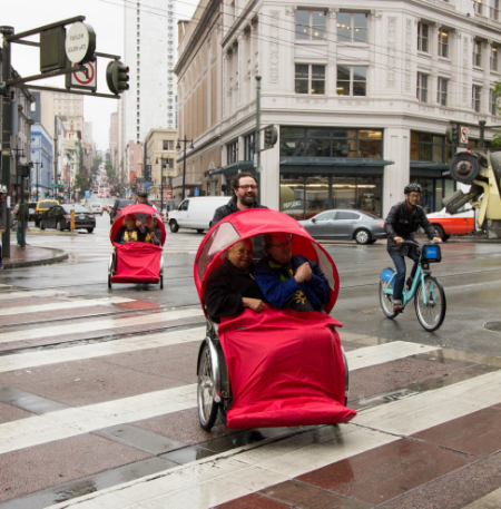 Zendesk CEO Mikkel Svane out for the inaugural ride with seniors from Curry Senior Center. Photo by Adam Panzer.